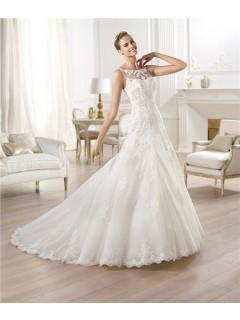 A Line Bateau Neckline See Through Back Tulle Lace Wedding Dress