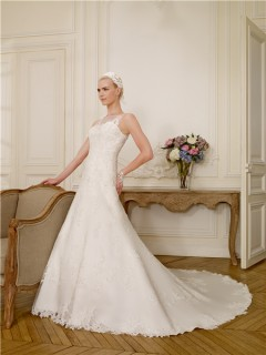 A Line Boat Illusion Neckline Tulle Lace Applique Beaded Wedding Dress With Buttons
