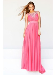A Line Boat Neckline Long Watermelon Draped Chiffon Beaded Evening Prom Dress