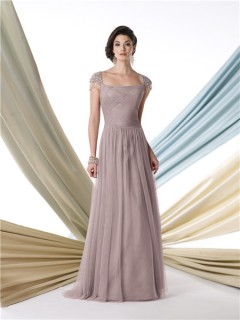A Line Cap Sleeve Coffee Chiffon Mother Of The Bride Formal Evening Dress