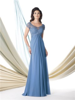 A Line Cap Sleeve Empire Waist Blue Chiffon Lace Mother Of The Bride Evening Dress