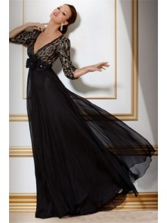 A Line Deep V Neck Empire Waist Long Black Chiffon Lace Women Evening Dress