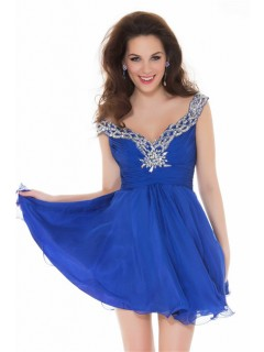 A Line Deep V Neck Short Royal Blue Chiffon Beading Homecoming Prom Dress