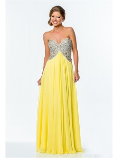 A Line Empire Waist Yellow Chiffon Beaded Long Evening Prom Dress Low Back