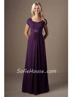 A Line Grape Purple Chiffon Beaded Long Modest Bridesmaid Dress With Sleeves