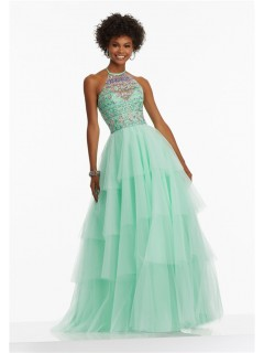 A Line Halter Long Mint Green Tulle Tiered Prom Dress With Beading