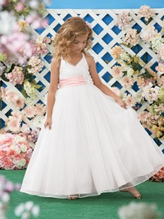 A Line Halter White Organza Wedding Flower Girl Dress With Pink Sash Flowers