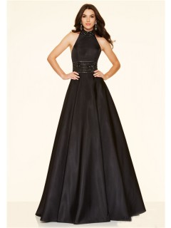 A Line High Neck Backless Long Black Taffeta Beaded Prom Dress