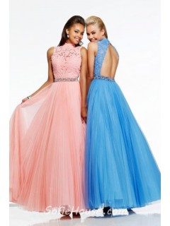 A Line High Neck Backless Long Blue Tulle Lace Beaded Evening Prom Dress Open Back