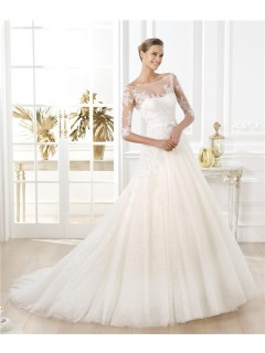 A Line Illusion Bateau Neckline Short Sleeve Glitter Tulle Lace Wedding Dress