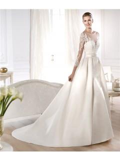 A Line Illusion Neckline Long Lace Sleeve Satin Wedding Dress With Detachable Train