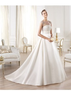 A Line Illusion Neckline Sheer Back Cap Sleeve Tulle Satin Beaded Wedding Dress