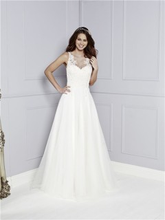 A Line Illusion Scoop Neckline See Through Back Tulle Lace Wedding Dress Buttons Bow Sash
