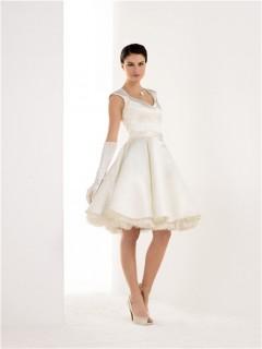 A Line Keyhole Open Back Tulle Satin Short Wedding Dress With Sash