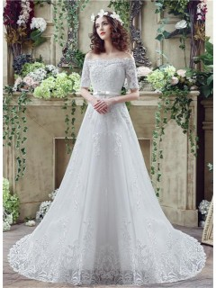 A Line Off The Shoulder Short Sleeve Lace Wedding Dress With Bow Belt
