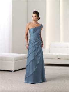 A Line One Shoulder Blue Chiffon Ruched Mother Of The Bride Occasion Evening Dress