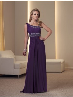A Line One Shoulder Purple Chiffon Beaded Mother Of The Bride Occasion Evening Dress