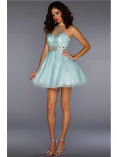 A Line One Shoulder Short/ Mini Ice Blue Sequin Tulle Homecoming Cocktail Prom Dress