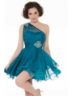 A Line One Shoulder Short Teal Blue Chiffon Cocktail Party Prom Dress