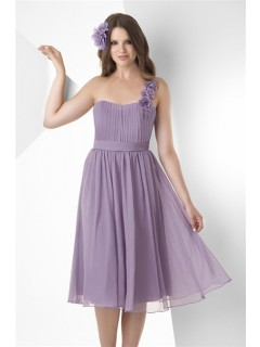 A Line One Shoulder Strap Short Lilac Chiffon Ruched Party Bridesmaid Dress With Flowers Belt