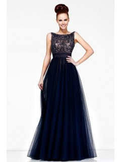 A Line Princess Bateau V Back Long Navy Blue Chiffon Beaded Evening Prom Dress