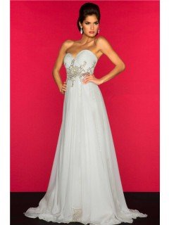 A Line Princess Empire Waist Long White Chiffon Beaded Maternity Evening Prom Dress