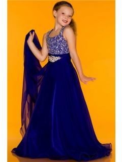 A Line Princess Royal Blue Chiffon Beaded Little Flower Girl Evening Prom Dress