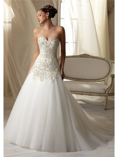 A Line Princess Sweetheart Beaded Crystal Tulle Wedding Dress With Buttons