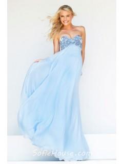 A Line Princess Sweetheart Empire Waist Long Baby Blue Chiffon Beaded Prom Dress