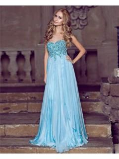 A Line Princess Sweetheart Empire Waist Long Blue Chiffon Draped Prom Dress With Beading