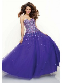 A-Line/Princess Sweetheart Floor Length royal blue beaded tulle prom dress with corset