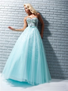 A Line Princess Sweetheart Long Aqua Blue Tulle Prom Dress With Sequins Rhinestones