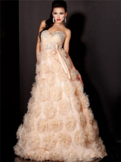 A Line Princess Sweetheart Long Peach Tulle Flowers Evening Prom dress With Sash