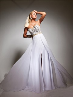 A Line Princess Sweetheart Long White Chiffon Gold Beaded Evening Prom Dress With Slit