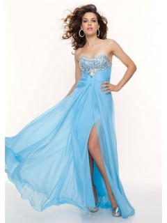 A-Line/Princess Sweetheart long sky blue chiffon prom dress with crystals
