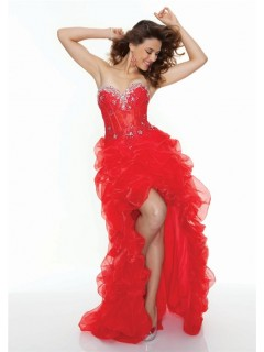 A-Line/Princess sweetheart sexy see through red organza high low prom dress
