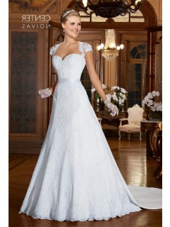 A Line Queen Anne Neckline Cap Sleeve Sheer Back Satin Lace Wedding Dress