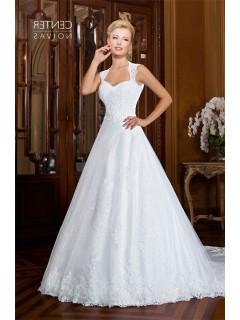 A Line Queen Anne Neckline Open Back Two In One Wedding Dress Detachable Skirt
