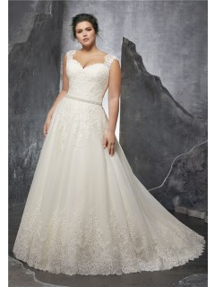A Line Queen Anne Neckline Tulle Lace Plus Size Wedding Dress With Straps