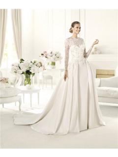 A Line Scalloped Neckline Open Back Long Sleeve Lace Satin Wedding Dress