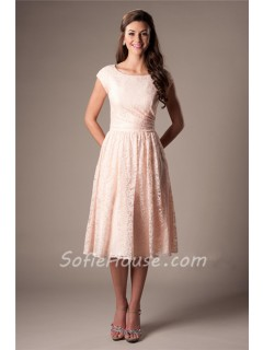 A Line Scoop Neck Cap Sleeved Blush Pink Lace Short Party Bridesmaid Dress
