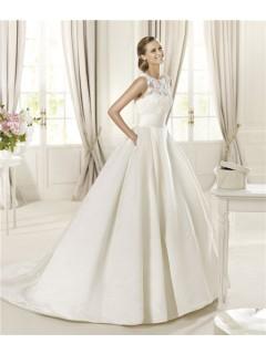 A Line Scoop Neck Keyhole Back Lace Satin Wedding Dress With Pockets