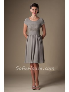 A Line Scoop Neck Short Sleeves Grey Chiffon Lace Bridesmaid Dress