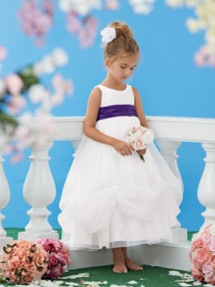 A Line Scoop Neck Tea Length White Organza Purple Sash Wedding Flower Girl Dress