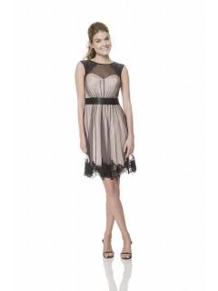A Line Scoop Neckline Short Champagne Black Tulle Lace Wedding Guest Bridesmaid Dress