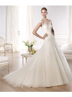 A Line Sheer Illusion Scoop Neckline Cap Sleeve Tulle Lace Wedding Dress