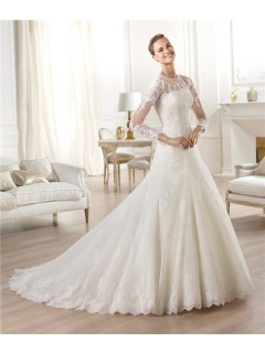 A Line Sheer Illusion Scoop Neckline Long Sleeve Tulle Lace Wedding Dress