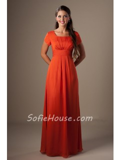 A Line Square Neck Orange Chiffon Long Modest Bridesmaid Dress With Sleeves
