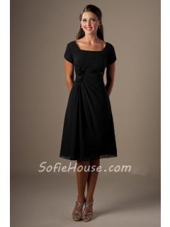 A Line Square Neck Short Sleeves Black Chiffon Party Bridesmaid Dress Corset Back