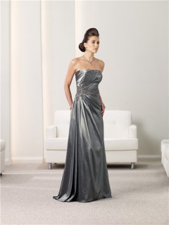 A Line Strapless Charcoal Grey Taffeta Mother Of The Bride Evening Dress With Shawl